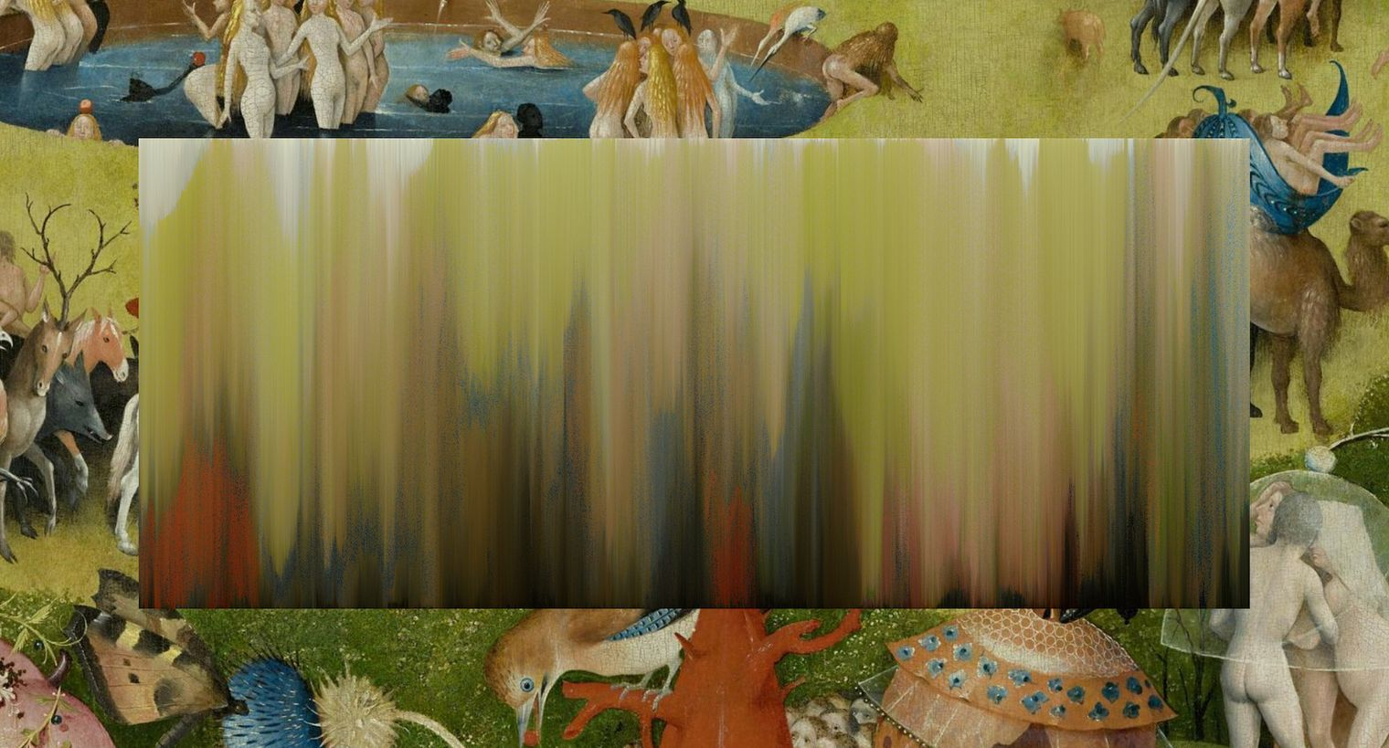 crop from the garden of earthly delights with a pixel sorted color gradient