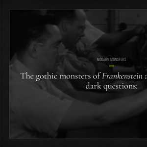 Introduction screen of the application, says the gothic monsters of Frankenstein and Dracula raise dark questions