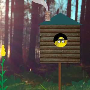 a cartoon bird in a birdhouse