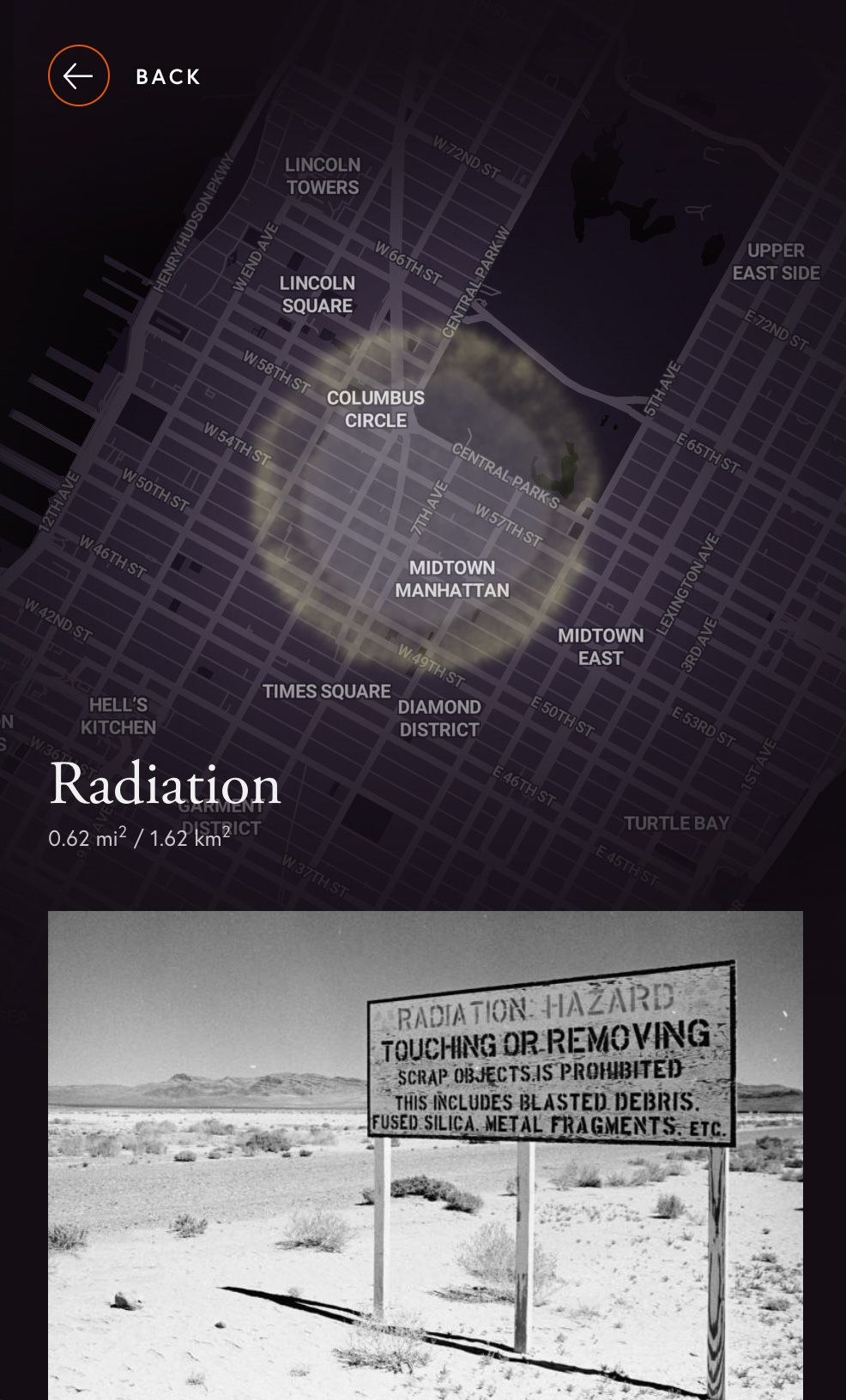 Mobile blast visualization radiation effects